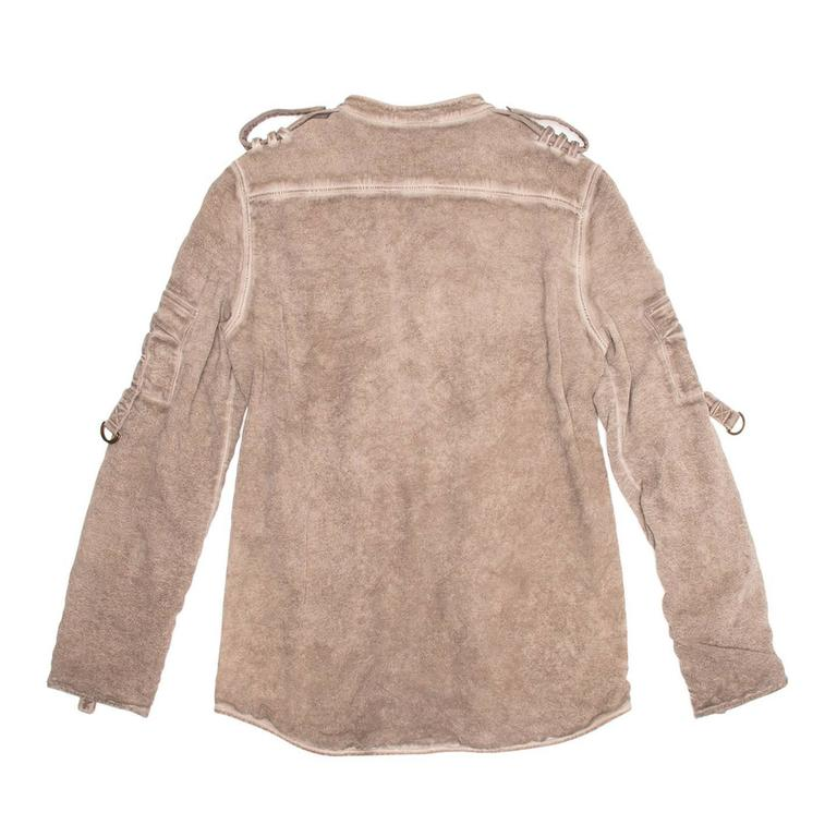 Brown Balmain Taupe Jersey & Chiffon Top For Sale