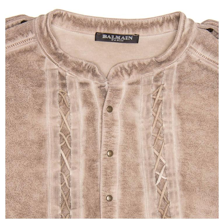 Balmain Taupe Jersey & Chiffon Top In Excellent Condition For Sale In Brooklyn, NY