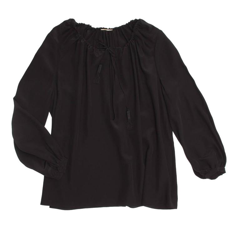 Black silk hippie chic peasant top with a wide drawstring neckline and a deep opening. The sleeves are slightly belled and gathered on elegant small cuffs.  Size  44 French sizing  Condition  Excellent: never worn with tags