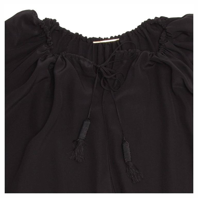 Women's Saint Laurent Black Silk Peasant Style Top For Sale