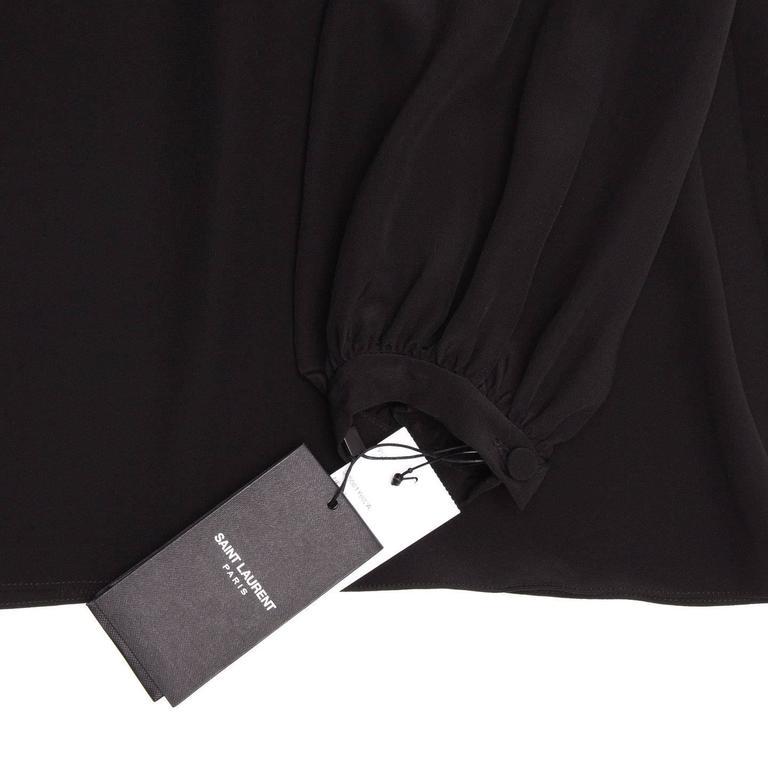 Saint Laurent Black Silk Peasant Style Top For Sale 1