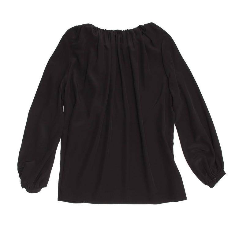 Saint Laurent Black Silk Peasant Style Top In New Condition For Sale In Brooklyn, NY
