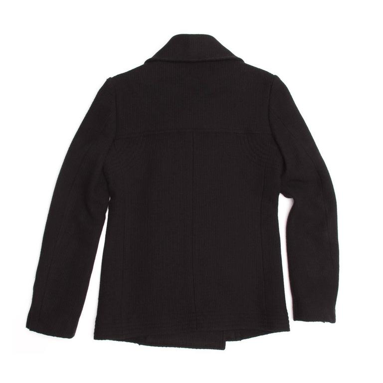 Chanel Black Wool Peacoat Jacket In Good Condition For Sale In Brooklyn, NY