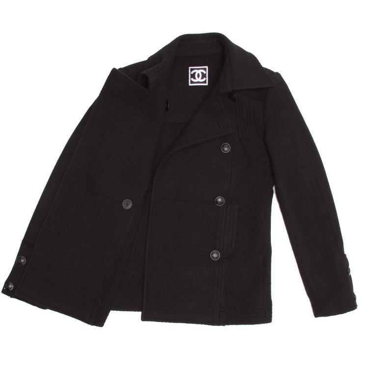 Women's Chanel Black Wool Peacoat Jacket For Sale