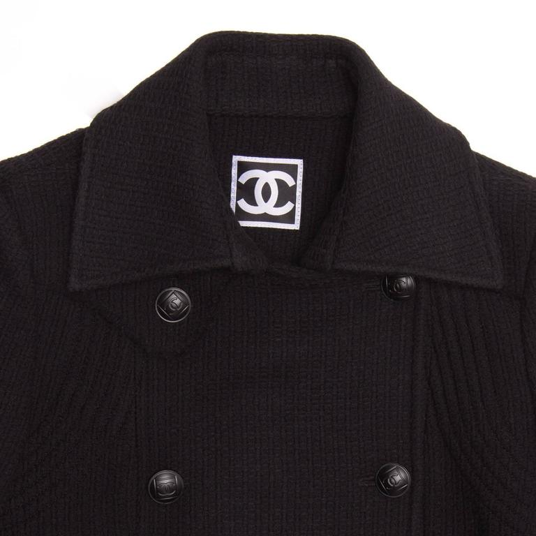 Chanel Black Wool Peacoat Jacket For Sale 1