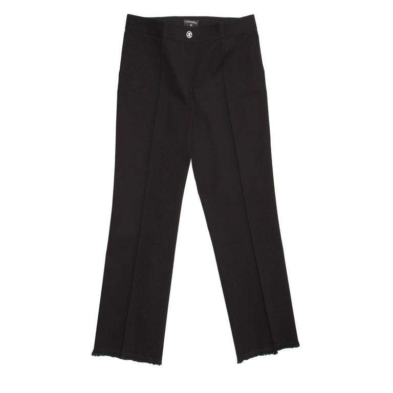 Chanel Black Cotton Cropped Pants with Frayed Hem 2