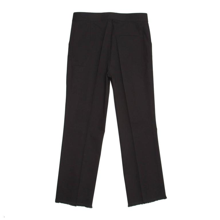 Chanel Black Cotton Cropped Pants with Frayed Hem 3