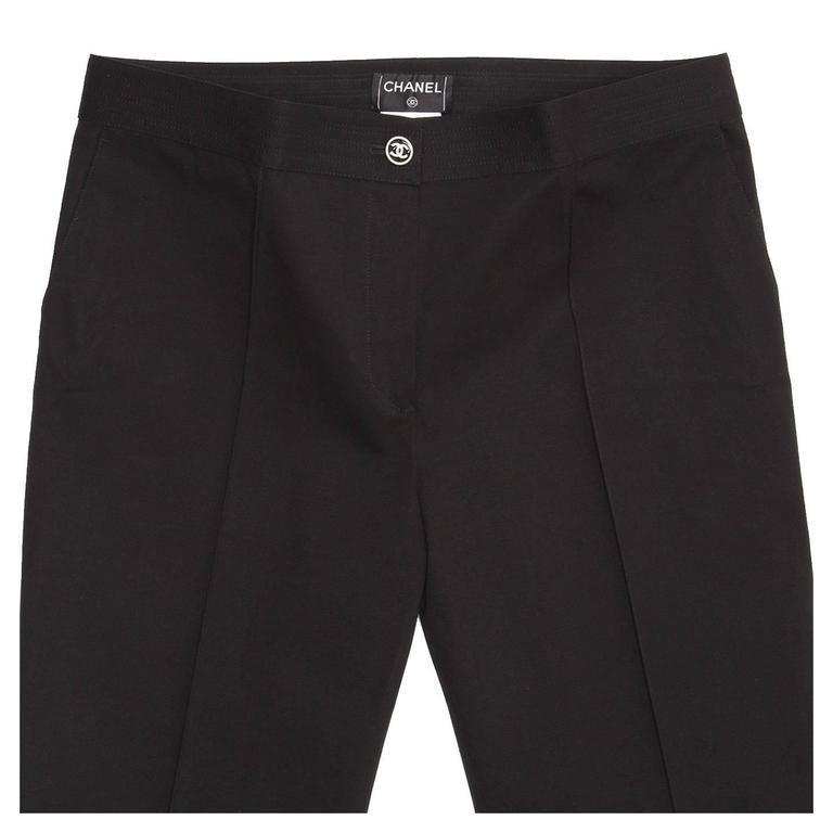 Chanel Black Cotton Cropped Pants with Frayed Hem 4