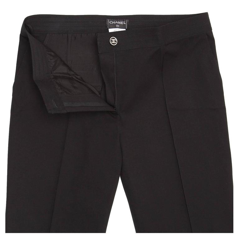 Chanel Black Cotton Cropped Pants with Frayed Hem 5