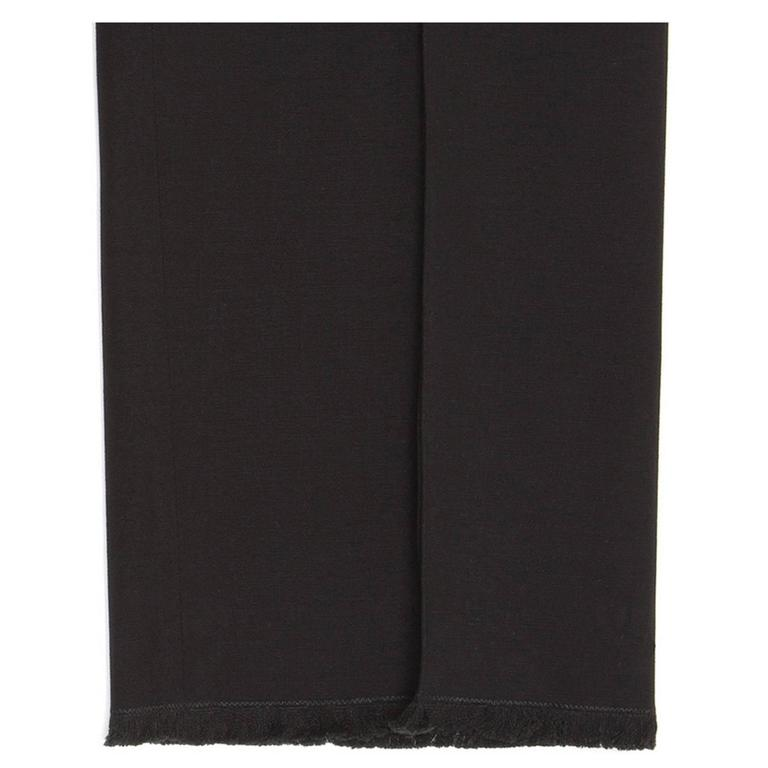 Chanel Black Cotton Cropped Pants with Frayed Hem 6