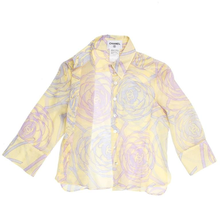 Chanel Multicolor Sheer Cotton Shirt In Excellent Condition For Sale In Brooklyn, NY