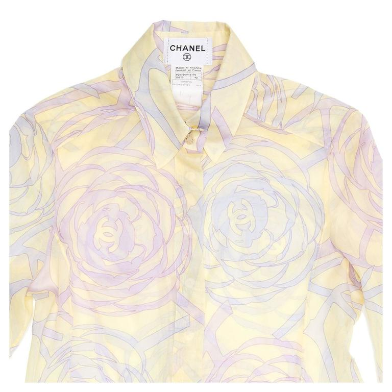 Women's Chanel Multicolor Sheer Cotton Shirt For Sale