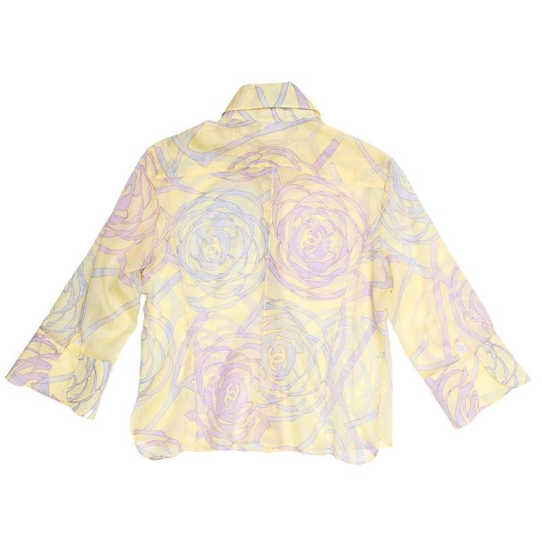 White Chanel Multicolor Sheer Cotton Shirt For Sale