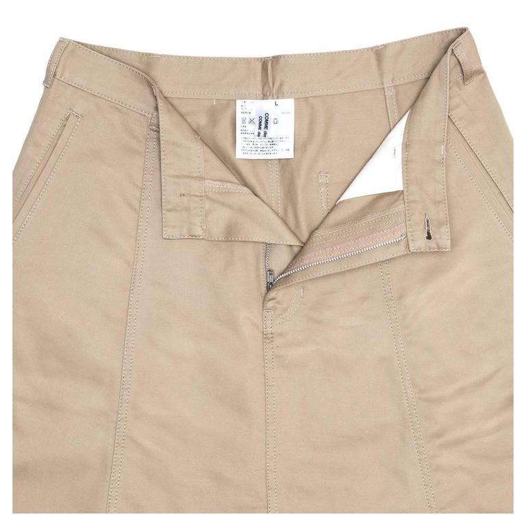 Women's Comme des Garçons Khaki Cotton Dropped Crotch Pants For Sale