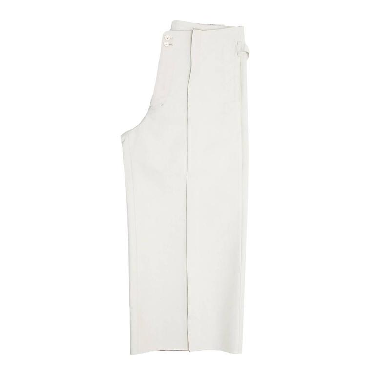 Comme des Garçons Ivory Thick Cotton Gaucho Pants In New Never_worn Condition For Sale In Brooklyn, NY