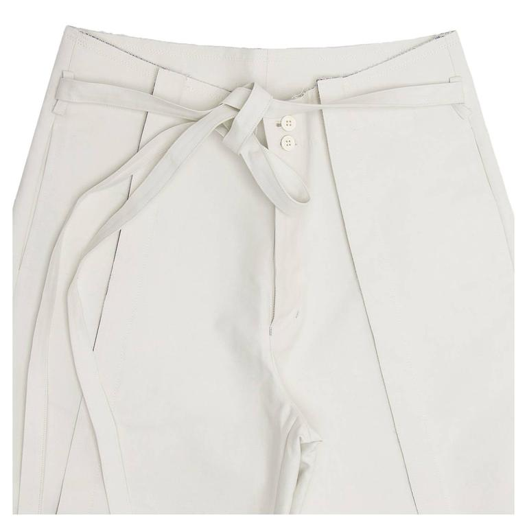 Women's Comme des Garçons Ivory Thick Cotton Gaucho Pants For Sale
