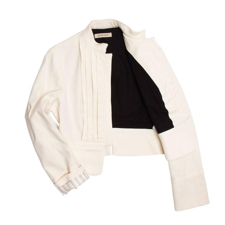 See by Chloe' Cream Bellboy Cut Jacket In Excellent Condition For Sale In Brooklyn, NY
