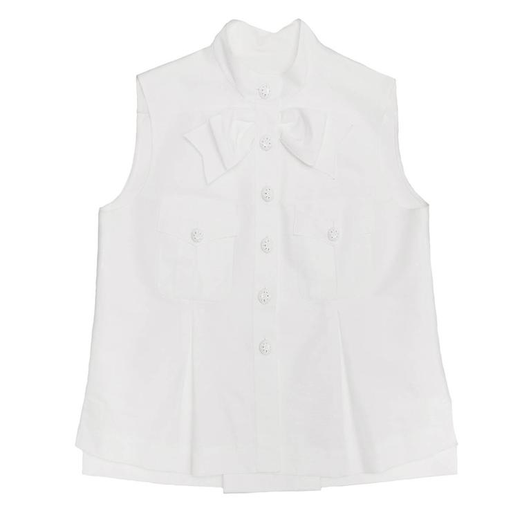 Chanel White Sleeveless Top or Jacket With Bow Detail 2