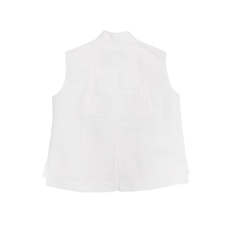 Chanel White Sleeveless Top or Jacket With Bow Detail 3