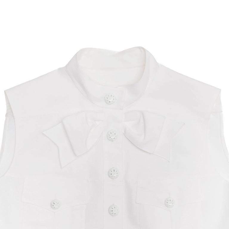 Chanel White Sleeveless Top or Jacket With Bow Detail 4