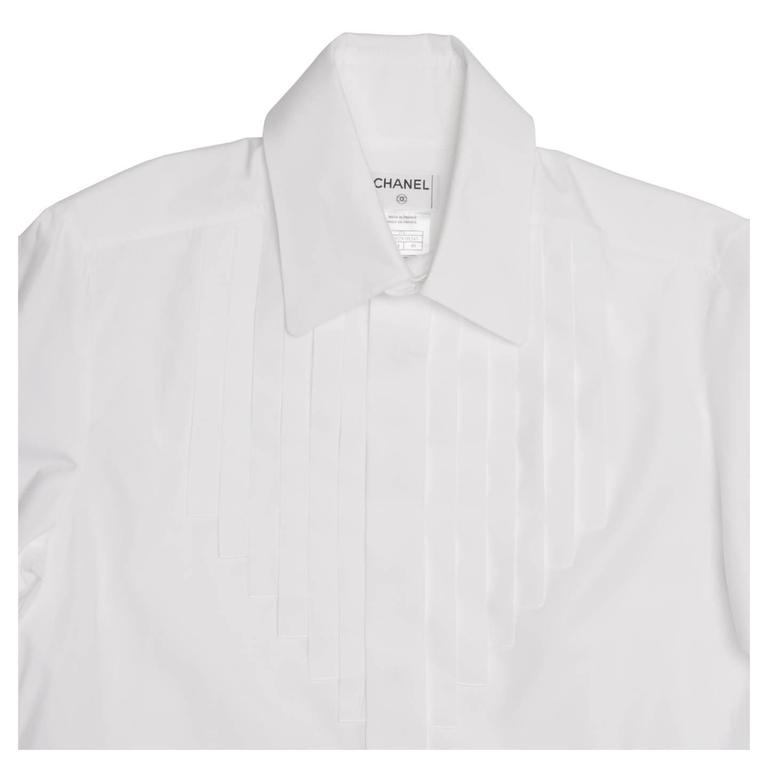 Chanel White Shirt With Bib Made for Men but Worn by Women In Excellent Condition For Sale In Brooklyn, NY