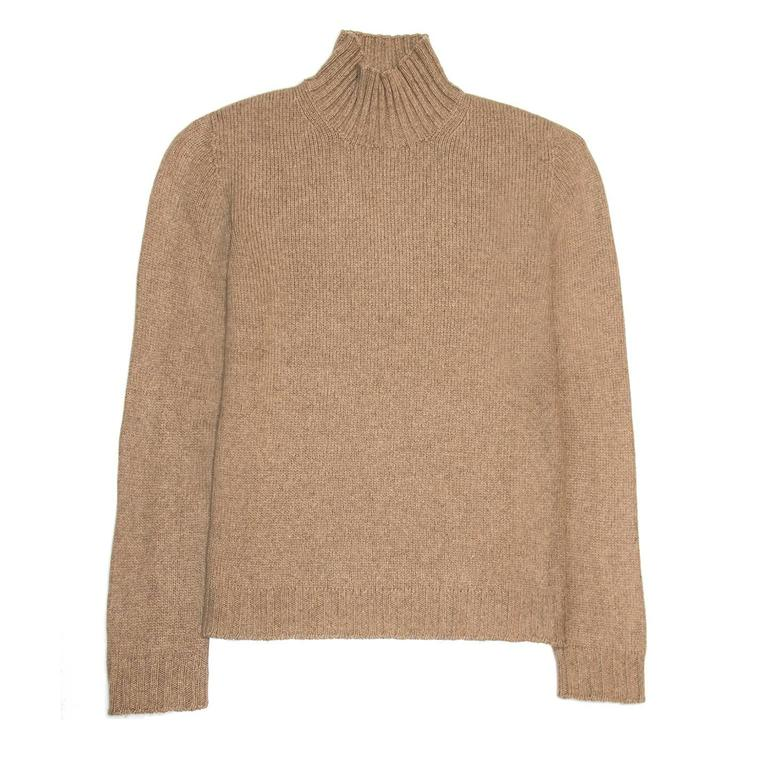 Camel color soft fine cashmere knit with ribbed rollover turtleneck, cuffs and hem. The fit is boxy and hip length.  Size  M Universal sizing  Condition  Excellent: worn a few times