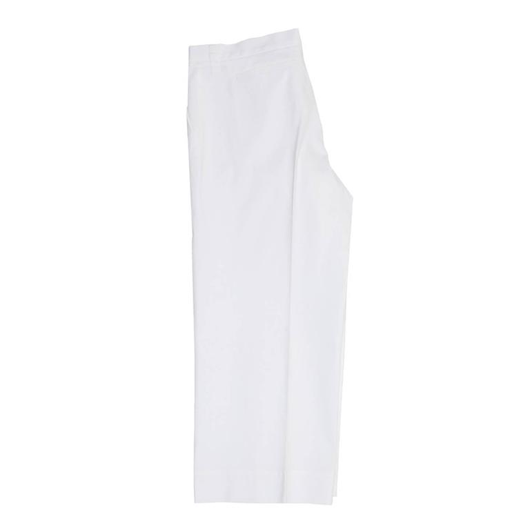 Jil Sander White Cotton Cropped Pants In Excellent Condition For Sale In Brooklyn, NY