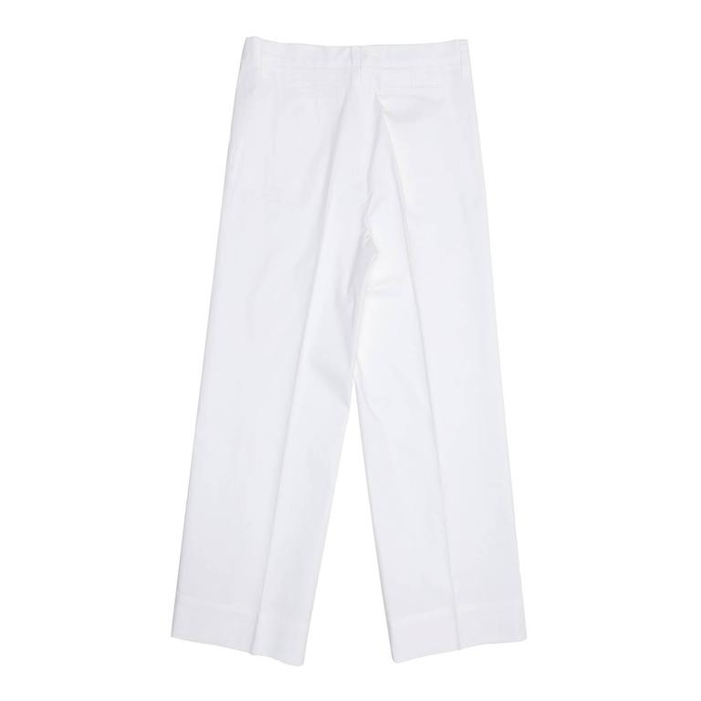 Gray Jil Sander White Cotton Cropped Pants For Sale