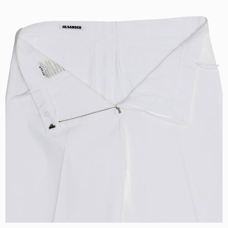 Women's Jil Sander White Cotton Cropped Pants For Sale