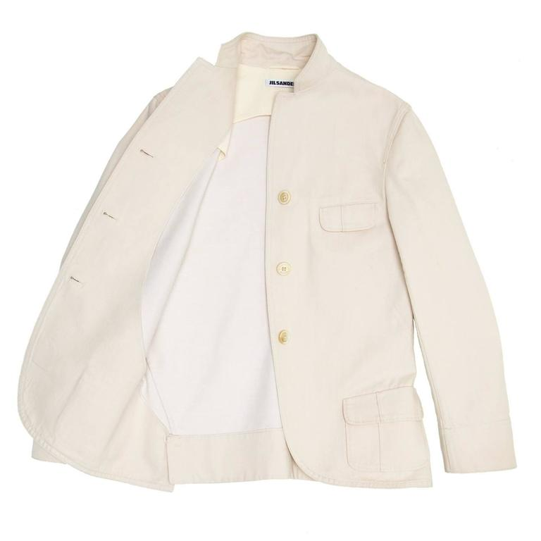 Jil Sander Ivory Cotton Blazer In New Condition For Sale In Brooklyn, NY
