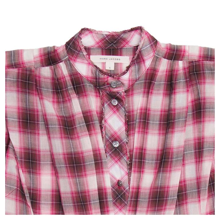 Marc Jacobs Red Plaid Cotton Shirt In New Condition For Sale In Brooklyn, NY