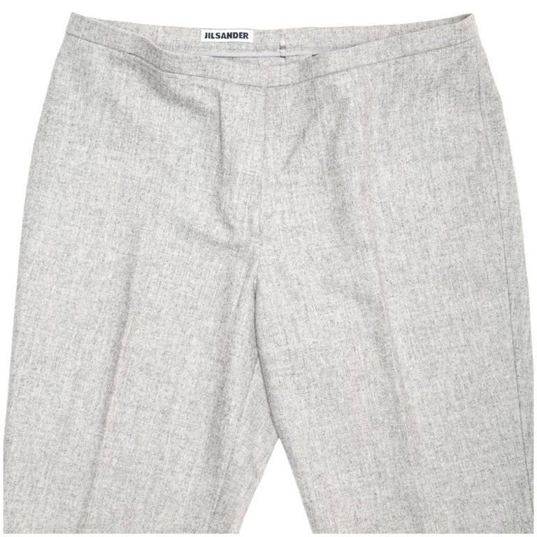 Women's Jil Sander Grey Wool Classic Pants For Sale