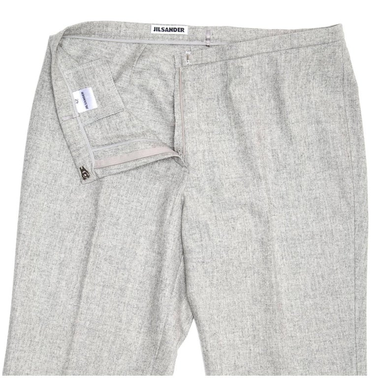 Jil Sander Grey Wool Classic Pants For Sale 1