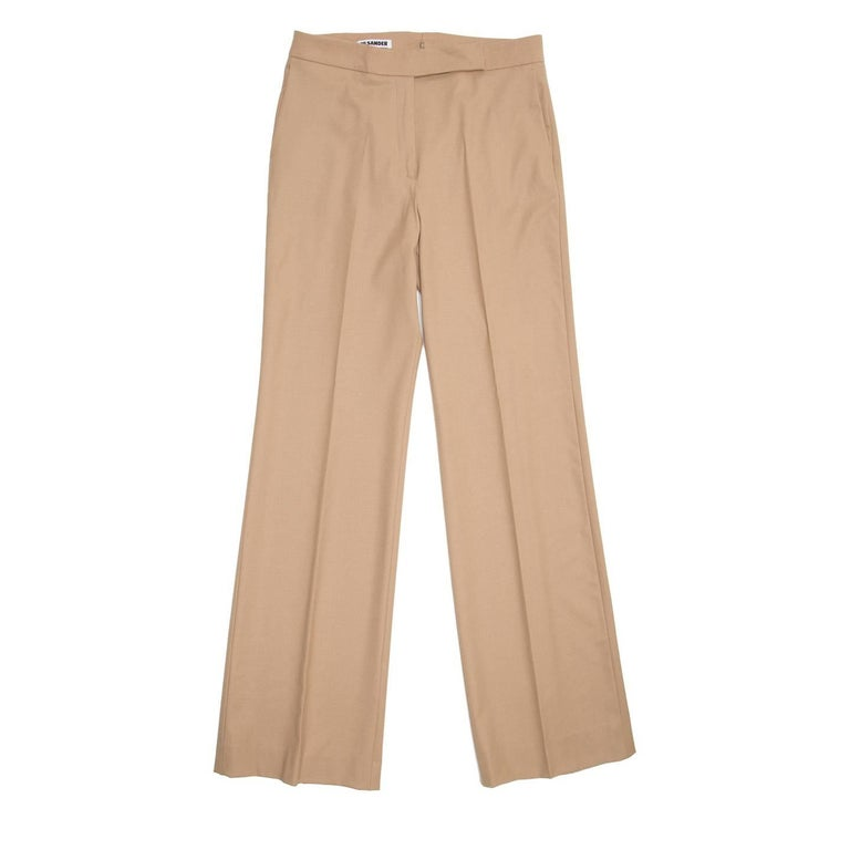 Jil Sander Camel Wool Wide Trousers