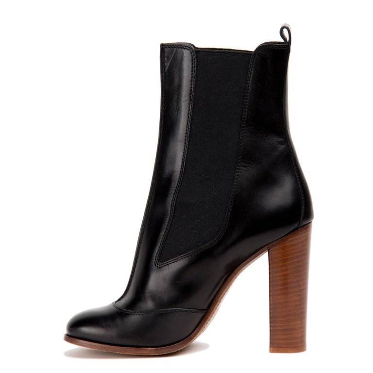 Women's Celine Black Chelsea Mid-Calf Boot For Sale
