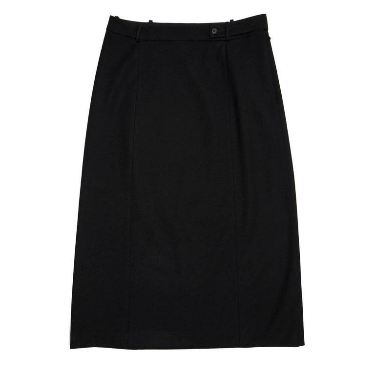 Prada Black Wool Straight Skirt 2