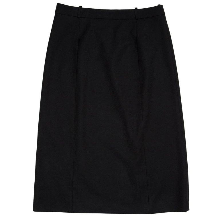 Prada Black Wool Straight Skirt 3
