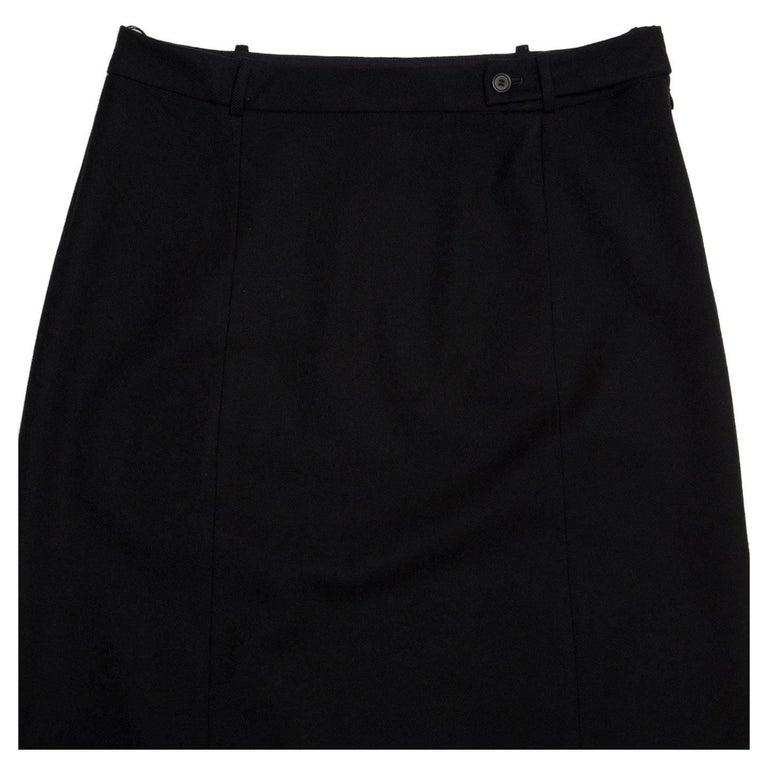 Prada Black Wool Straight Skirt 4