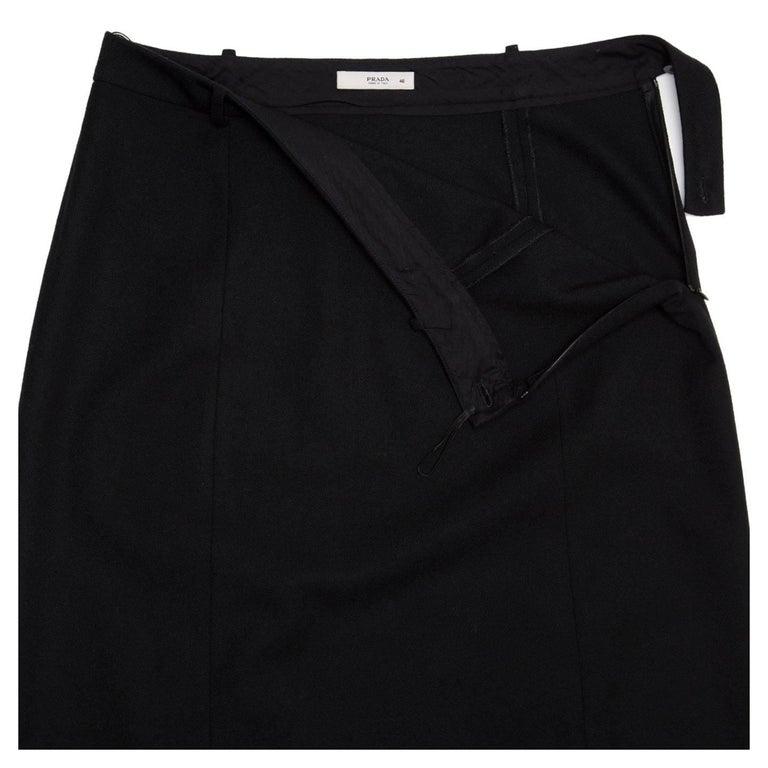 Prada Black Wool Straight Skirt 5