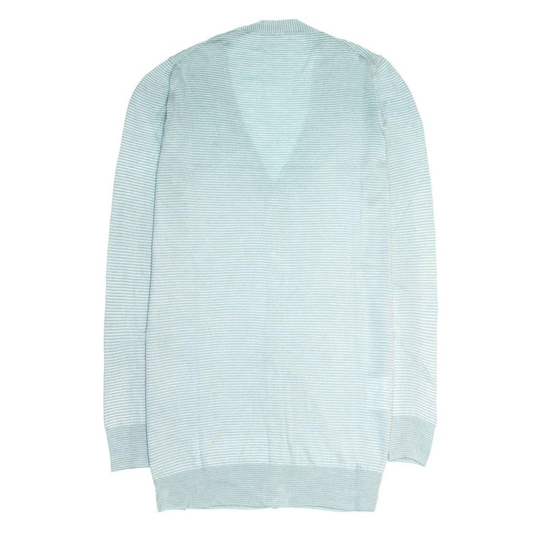 Blue Prada Green & White Striped Cardigan For Sale