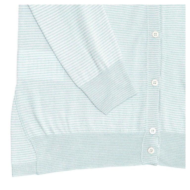 Women's Prada Green & White Striped Cardigan For Sale