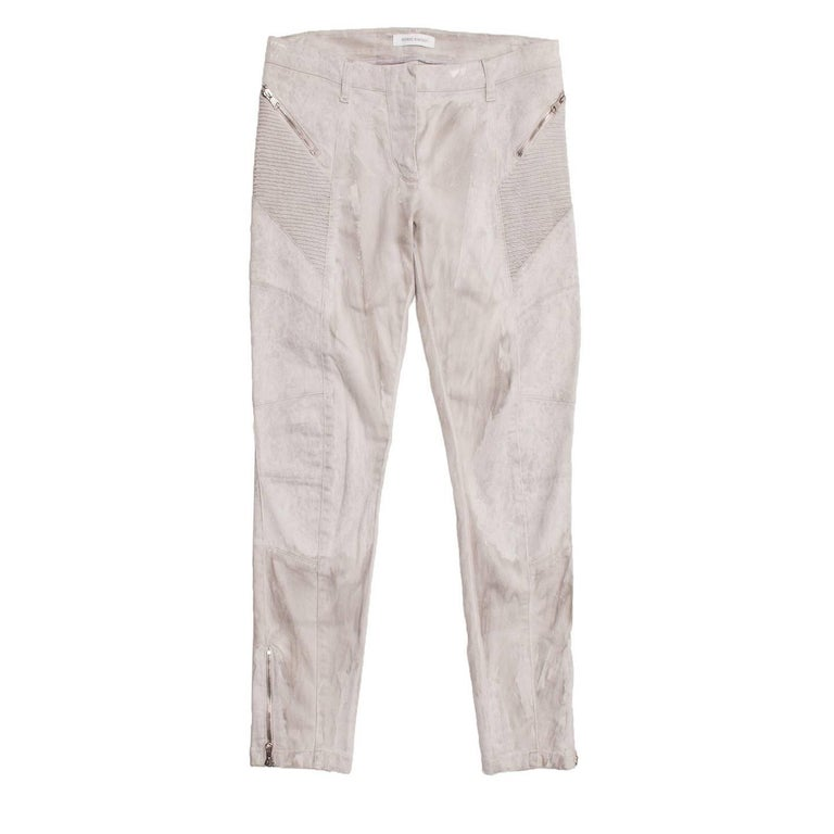 Pierre Balmain Grey biker style jeans with a light splash wash. Diagonal ribbed panels on top front and sides with silver chunky zips following the same line. Matching silver zips on back pockets and ankles outer side seams.  Size  46 Italian