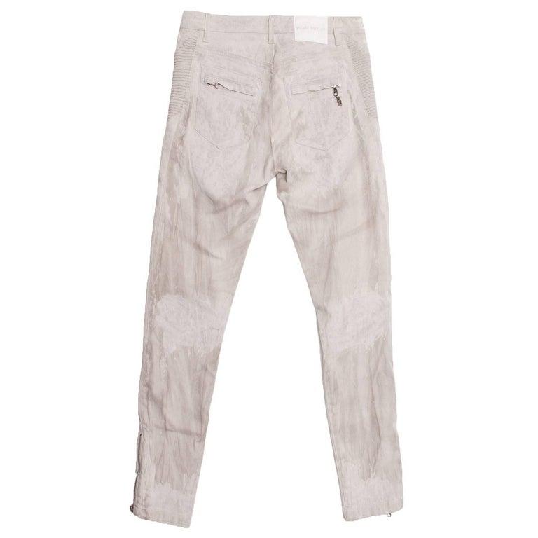 Gray Pierre Balmain Grey Biker Style Jeans For Sale