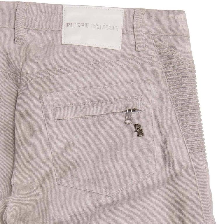 Women's Pierre Balmain Grey Biker Style Jeans For Sale