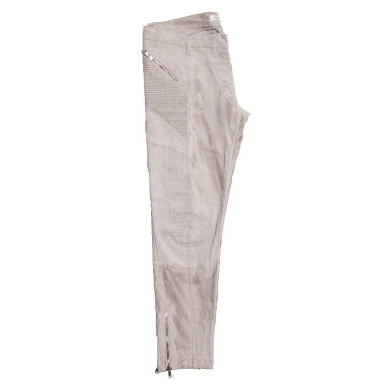 Pierre Balmain Grey Biker Style Jeans In New Condition For Sale In Brooklyn, NY