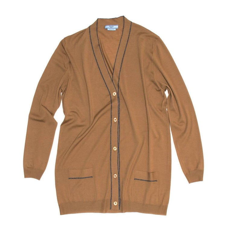 Women's Prada Brown V-neck Wool Cardigan For Sale