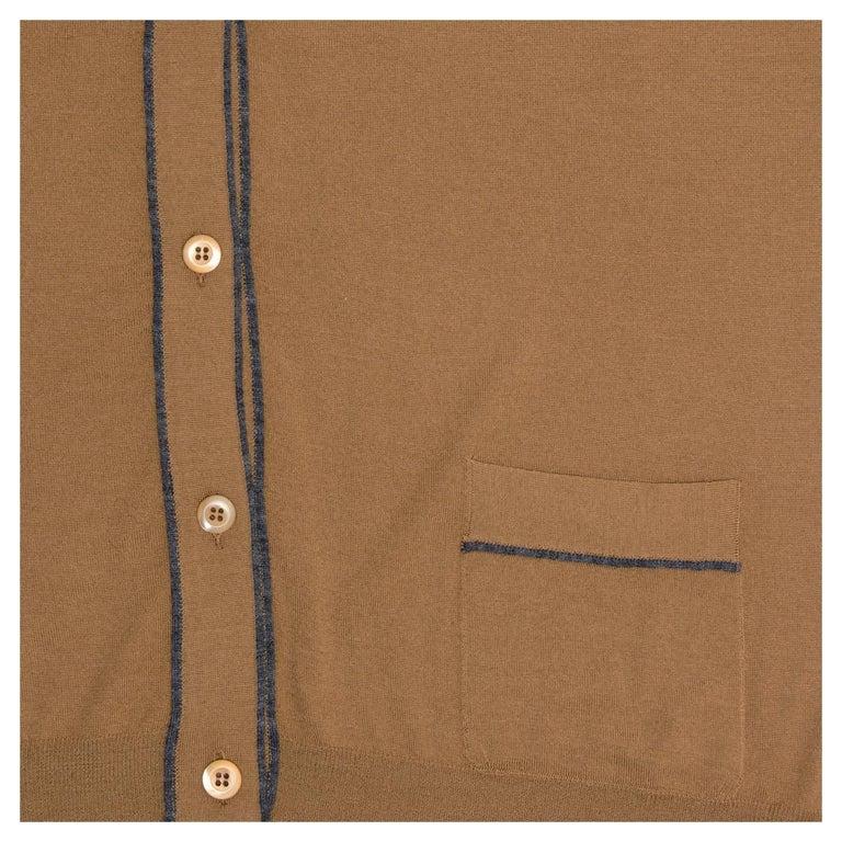 Prada Brown V-neck Wool Cardigan For Sale 1