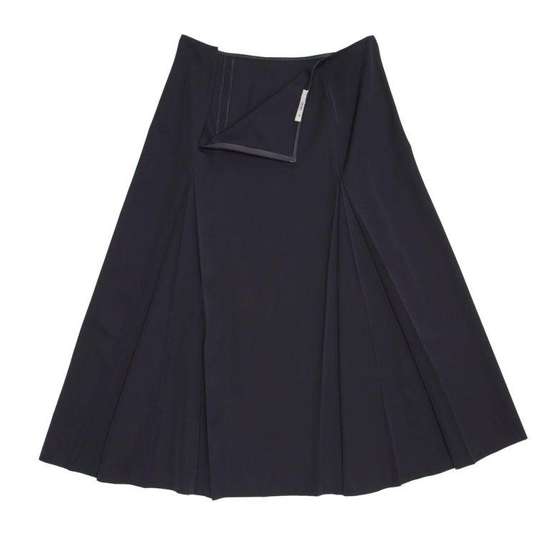 Black Prada Midnight Blue Wool Skirt For Sale