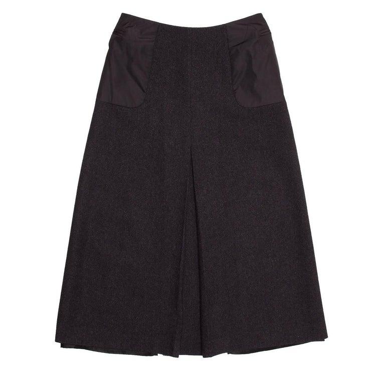 Black Prada Charcoal Grey Wool Pleated Skirt For Sale