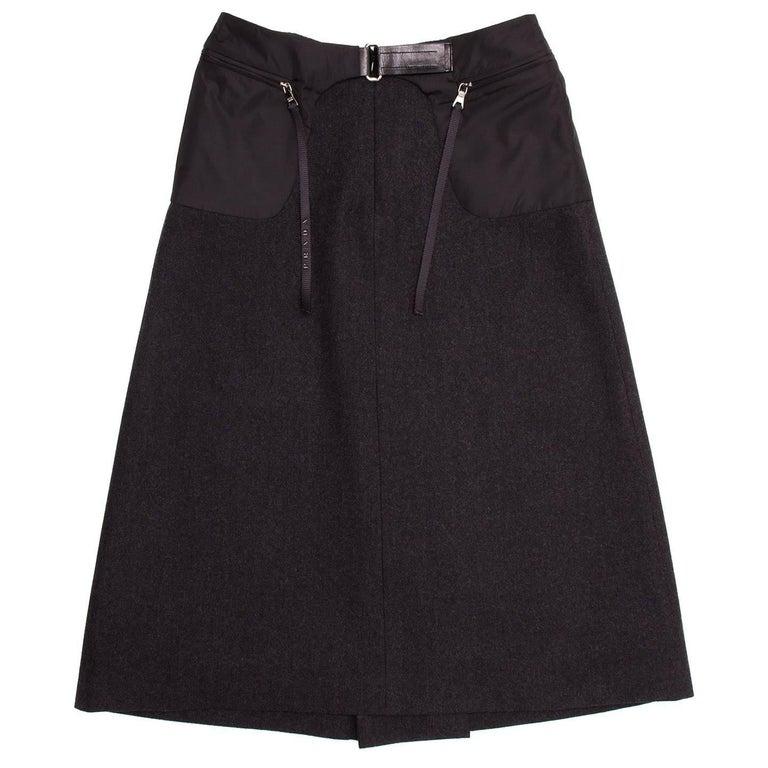 Prada Charcoal Grey Wool Pleated Skirt 2
